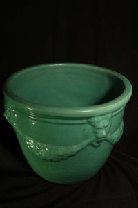 "SOLD 10"" JADE GREEN LION'S HEAD POTS"
