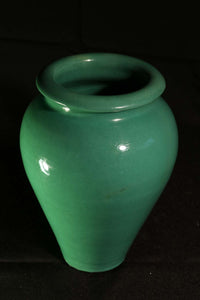"8"" HAND THROWN JADE GREEN OIL JAR (Professionally repaired)"