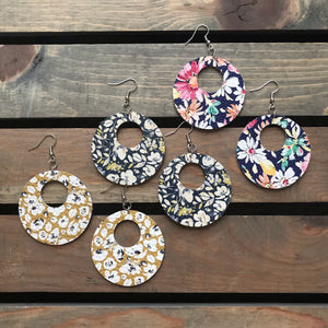 Flirty Florals Genuine Leather/Cork Earrings