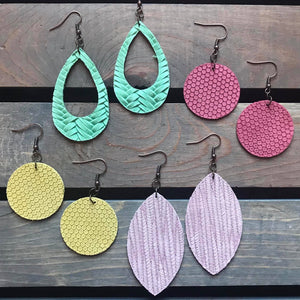 Shades of Spring Genuine Leather Earrings