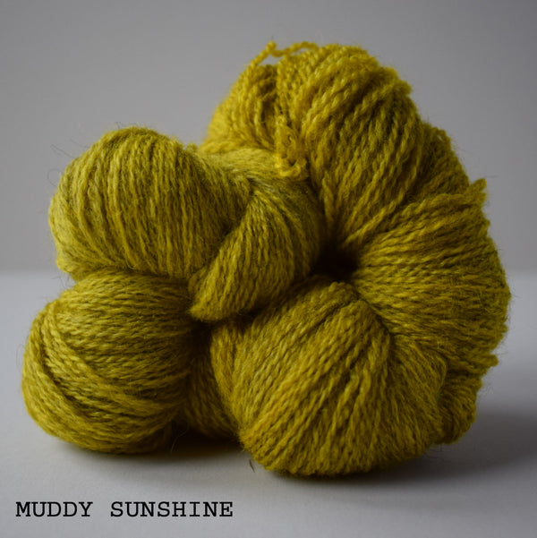 ginger's hand dyed masham mayhem 4ply british bluefaced leicester wool british masham yarn indie dyed lofty bouncy colourwork muddy sunshine yellow green bright