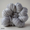 gingers hand dyed pep in your step worsted indie dyed superwash merino wool machine washable plump bouncy yarn indie dyed ginger twist studio light grey dove gray