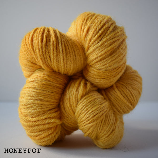 ginger's hand dyed sheepish dk double knitting british bluefaced leicester wool yarn indie dyed ginger twist studio honeypot mustard yellow cheerful shade