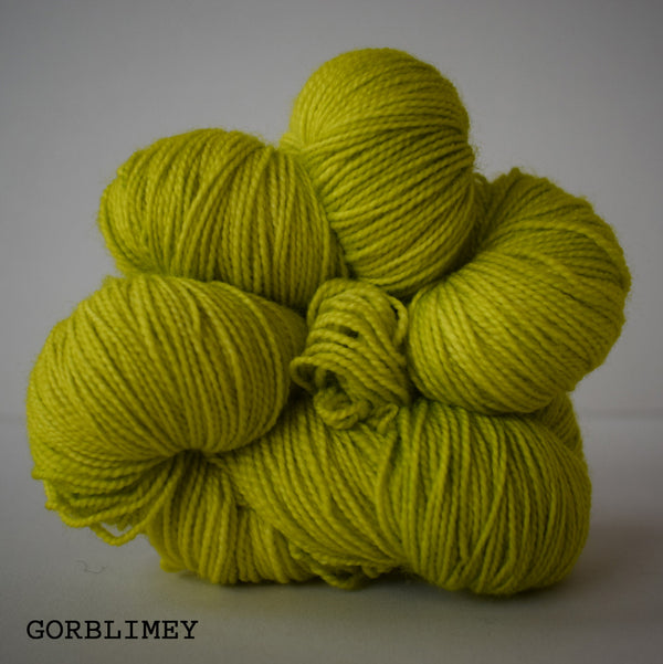 indie hand dyed sock yarn wool bfl nylon british bluefaced leicester high twist defined edinburgh scotland scottish soft bright neon green yellow