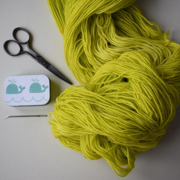 ginger's hand dyed sheepish sock yarn wool british bluefaced leicester and nylon 4ply fingering weight gorblimey neon green yellow