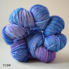gingers hand dyed pep in your step worsted indie dyed superwash merino wool machine washable plump bouncy yarn indie dyed ginger twist studio tink blue purple variegated tonal