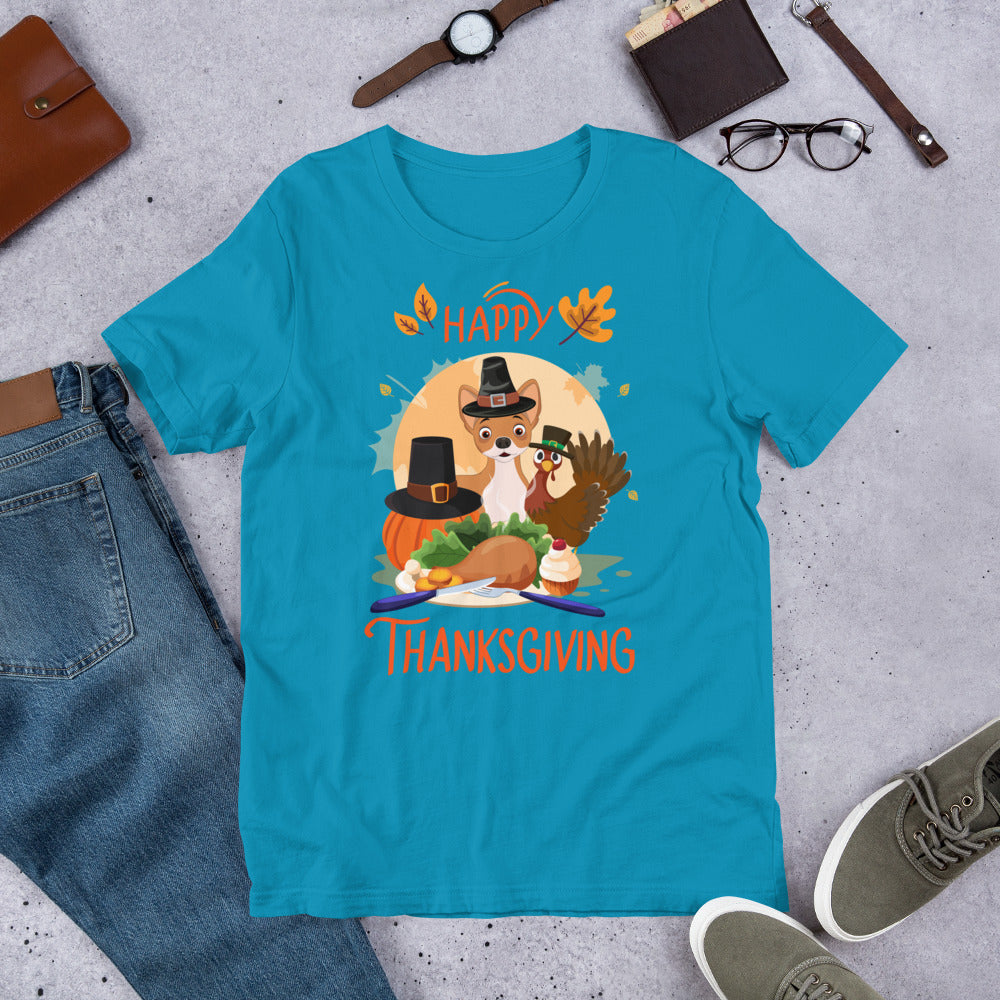 Chihuahua Happy Thanksgiving - Short-Sleeve Unisex T-Shirt
