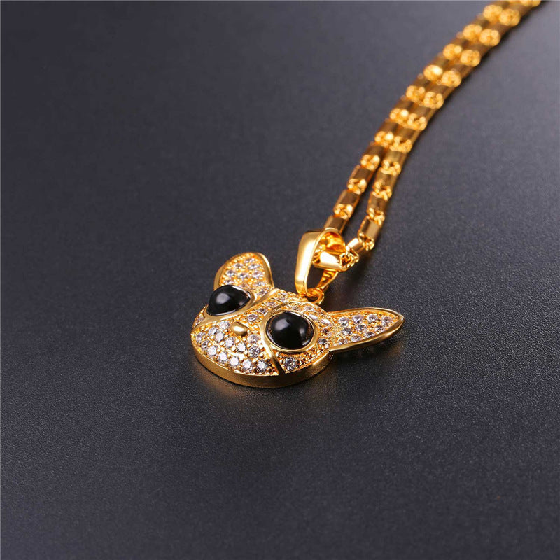 Necklace Chihuahua Gold/Silver Zirconia Crystal