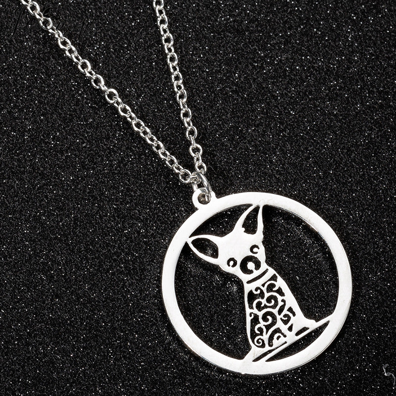Chihuahua necklace Round Design