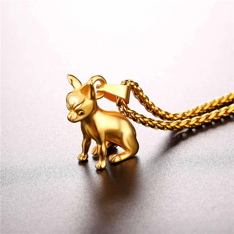 Chihuahua Necklace Stainless Steel/Gold Color Women/Men