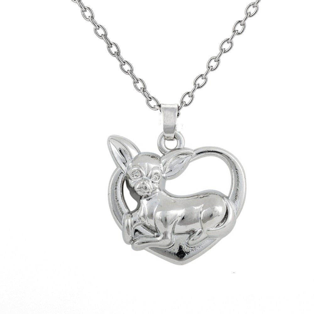 Necklace Silver Chihuahua on Heart