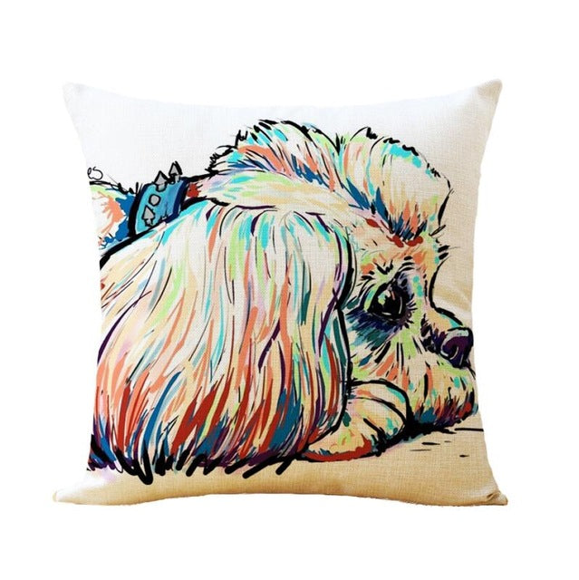 Pillow Cover With Dog Design Printed