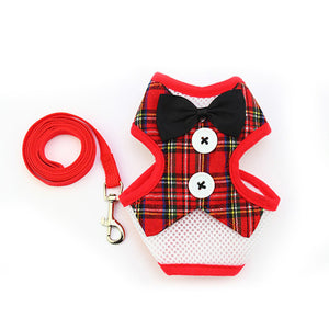 Fashion Bowknot Harness With Leash Set Adjustable For Dogs