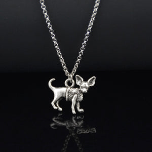 Silver Chihuahua Necklace Boho style