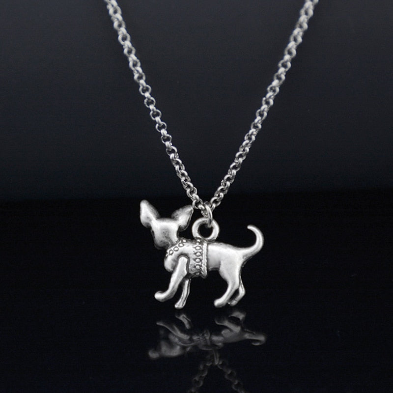 Chain Necklace Antique Silver Chihuahua