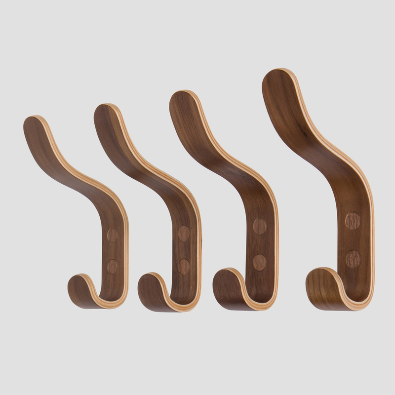 """Arun"" Wall Hooks In Walnut Ply"