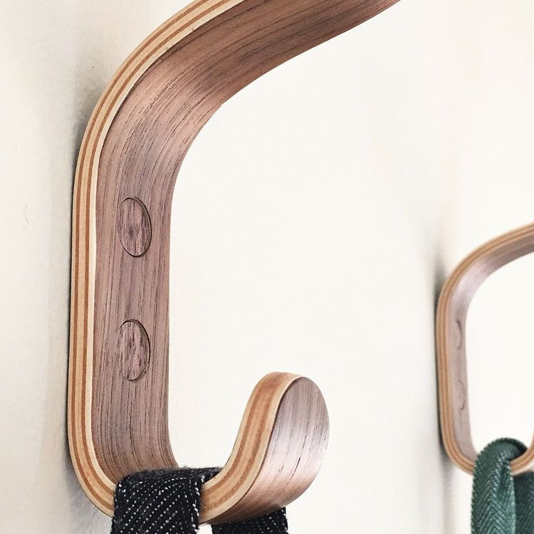 """Mundaka"" Wall Hooks In Walnut Ply"