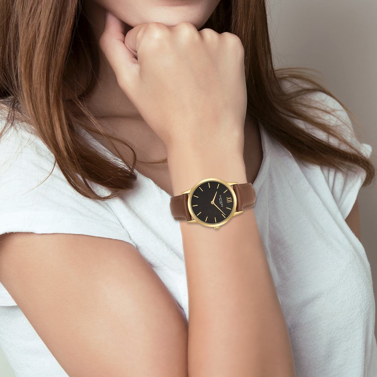 Upper Union Lady Watch light brown yellow gold