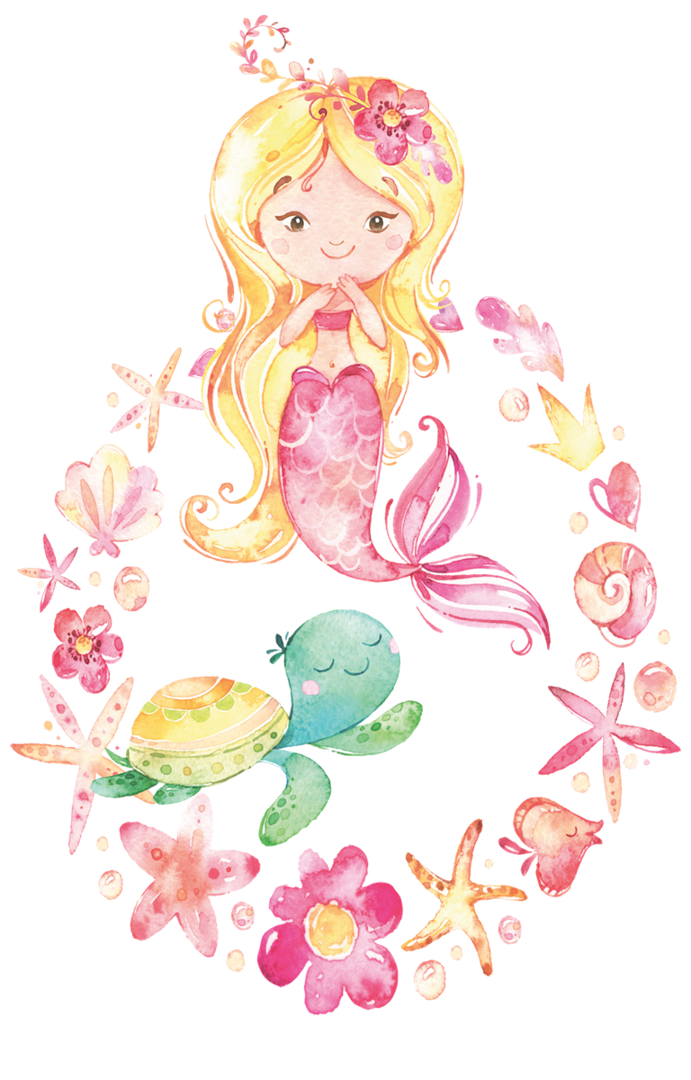 Cute Mermaid with Turtle Friend