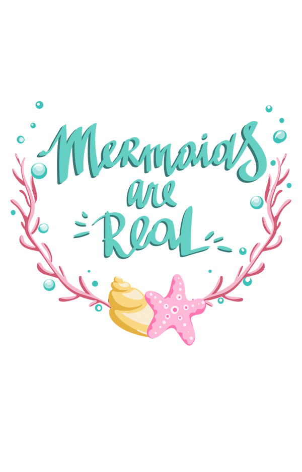 'Mermaids and Real' Coral and Seashells Text