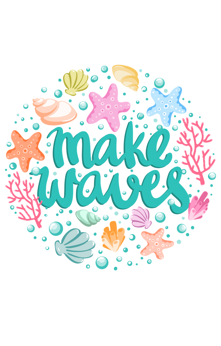 'Make Waves' Seashell Circle Text