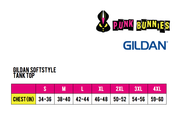 Punk Bunnies Sizing Chart