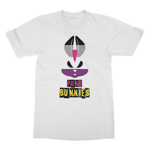 Asexual Flag Punk Bunnies Text Logo T-Shirt