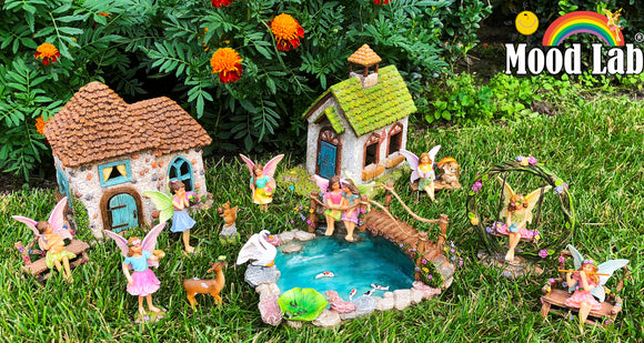 Fairy garden House set Miniature Figurines Kit Accessories Gnome Mood Lab