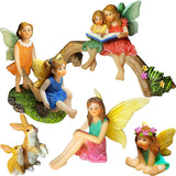 Fairy Garden - Miniature Family Kit Figurines and Accessories - Fairies Statue Set of 6 pcs for Outdoor or House Decor