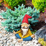 Mood Lab Garden Gnome - Zen Gnome Statue - 9 inch Hand Painted Lawn Gnome Figurine Outdoor House Decor