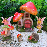 Fairy Garden Miniature Kit - Mushroom House Set of 6 pcs - Figurines and Accessories for Outdoor or House Decor