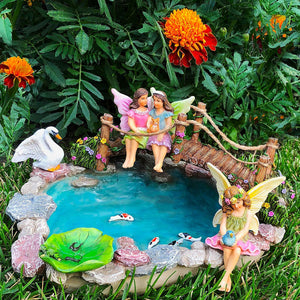 Fairy garden House set Miniature Pond and Bridge Figurines Kit Accessories Gnome Mood Lab