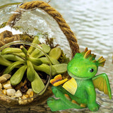 Miniature Fairy Garden and Terrarium Mini Dragon Kit - Playing with Butterfly Statue - for Outdoor or House Decor