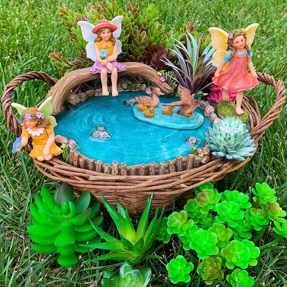 Fairy Garden Kit - Miniature Ducks Pond Set of 6 pcs - Figurines and Accessories for Outdoor or House Decor