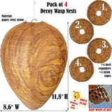 Mood Lab Wasp Nest Decoy - 4 Pack- Eco Friendly Hanging Wasp Repellent