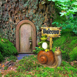 Mood Lab Fairy Garden Miniature Statue Welcome Sign - 3 inch Tall Frog and Snail Figurines Sign - Accessories for Outdoor and House Decor