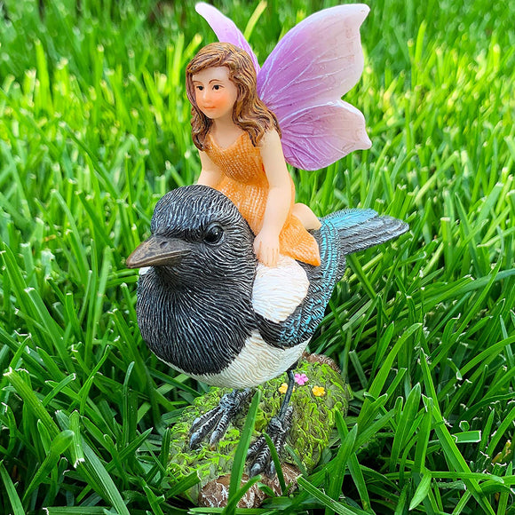 Fairy Garden Miniature Kit - Fairy On Bird - Figurines & Accessories for Outdoor or House Decor