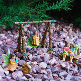 Fairy Garden Best Friends Day Miniature Swing Set of 6 pcs, Hand Painted Figurines & Accessories, Kit For Outdoor or House Decor