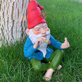 Garden Gnome - Relaxed Gnome - 9.6 Inch Tall Finger Statue - Lawn Garden Figurine