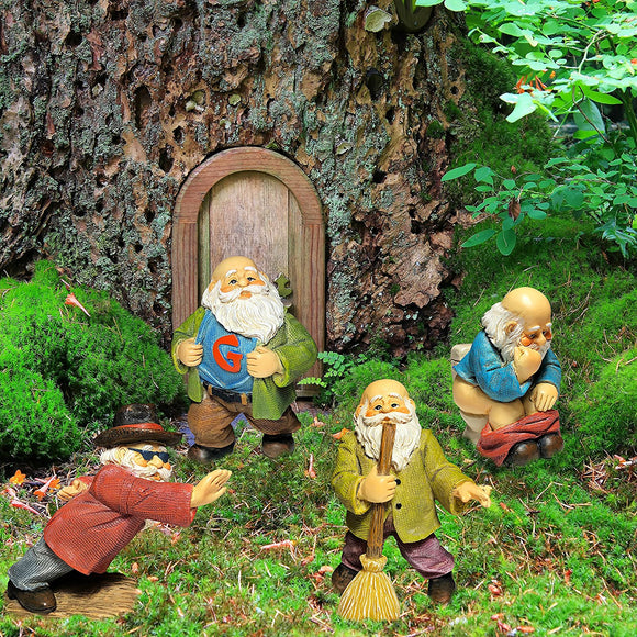 Miniature Garden Gnomes - Gnome Figurines - Mini Funny Gnomes Set of 4 pcs - Hand Painted Kit for Outdoor or House Decor
