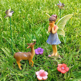 Fairy Garden Miniature Deer Set of 7 pcs, Hand Painted Figurines & Accessories, Kit For Outdoor or House Decor