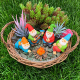 Miniature Garden Gnomes - Camping Gnome Kit of 5 pcs - Figurines and Accessories Set