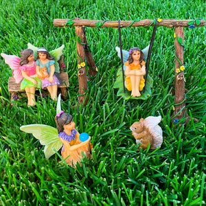 Fairy garden House set Miniature Swing Figurines Kit Accessories Gnome Mood Lab