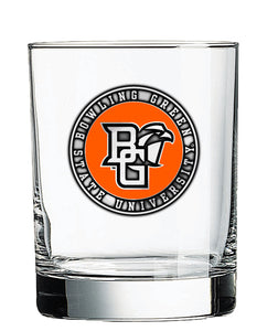 RFSJ 14oz BGSU DOF Rocks Glass with Pewter Emblem