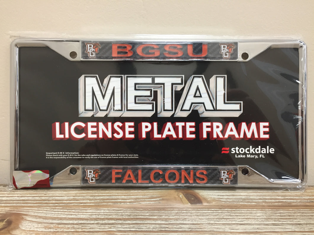BGSU Falcons Carbon Fiber Logo License Plate Frame