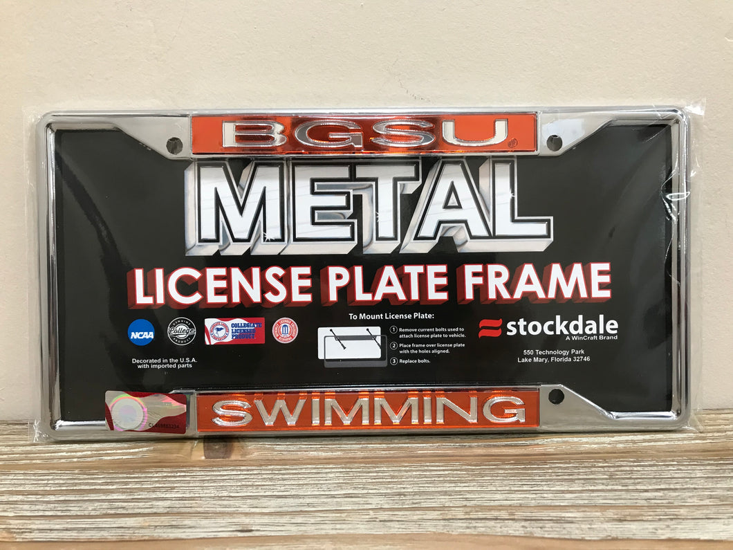 BGSU Swimming License Plate Frame