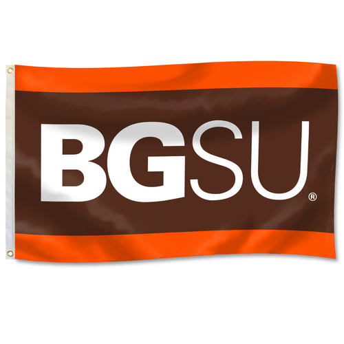 University Blanket & Flag 3X5 BGSU with Orange and Brown Panels