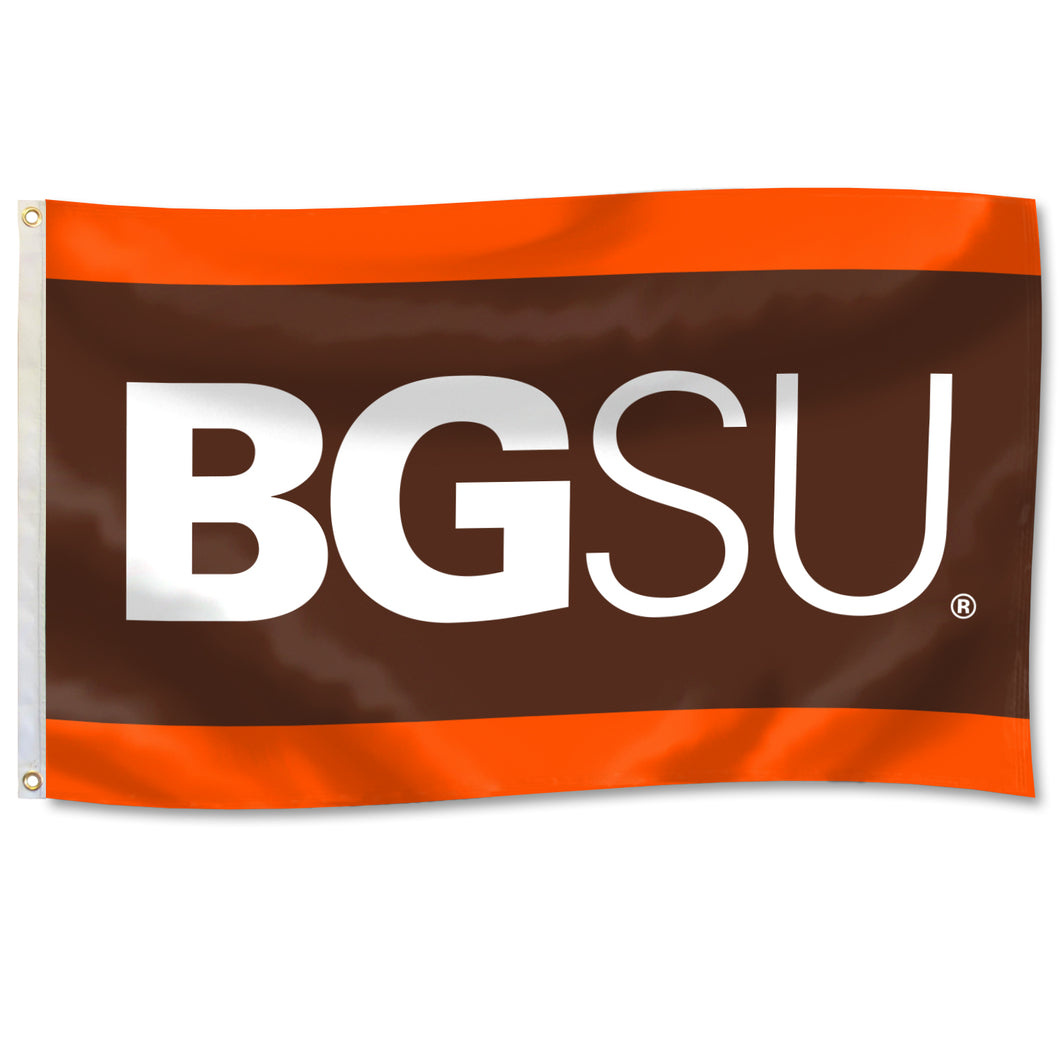 University Flag 3' x 5' Flag with BGSU with Orange and Brown Panels