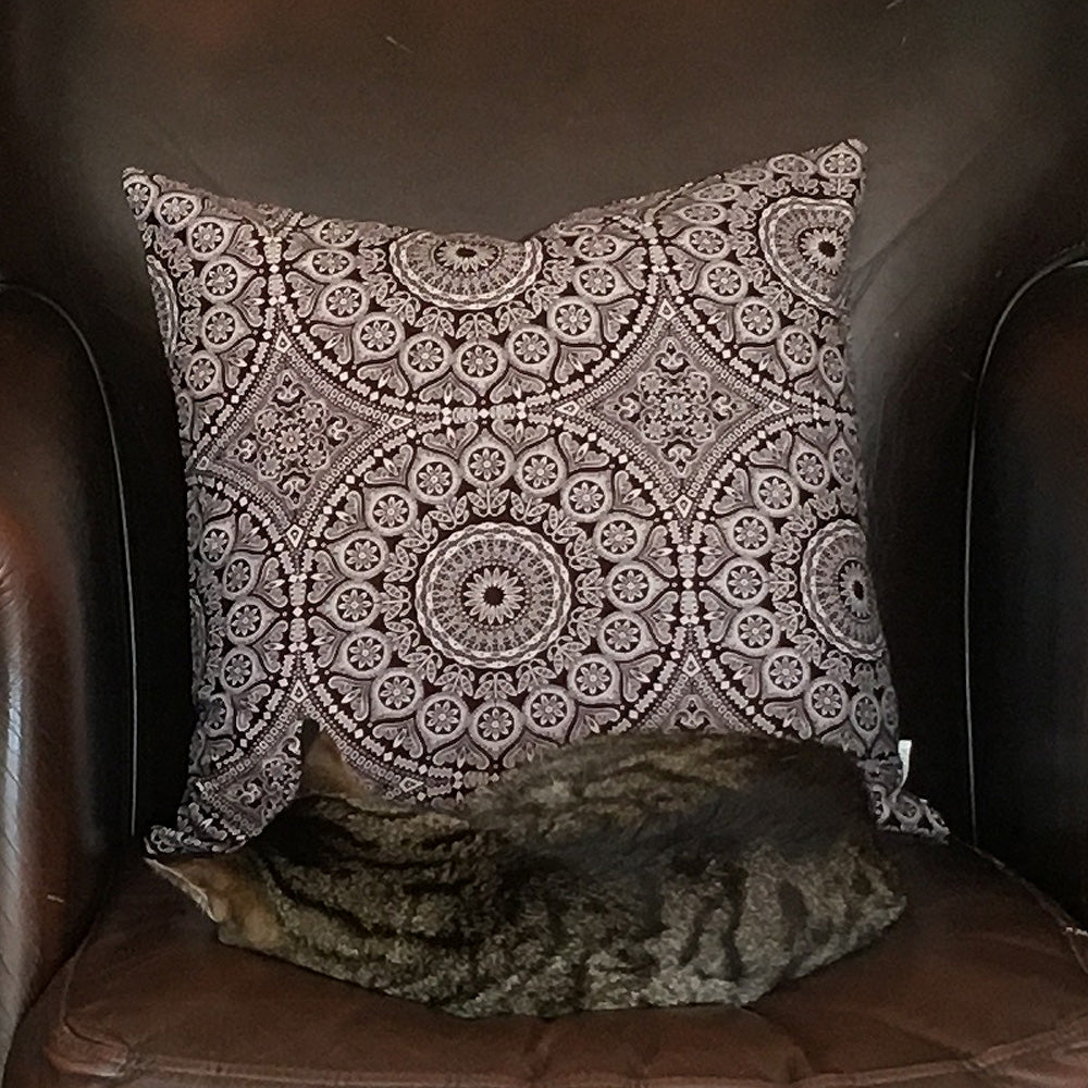 bade27c67c0 Shweshwe   linen cushion cover 50x50cm Three Cats South African textiles ...