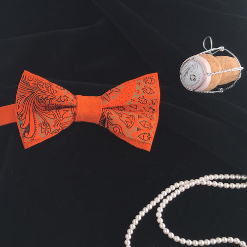Designer 'Dickie' the Pre Tied Stylish Adult Bow Tie, Imported South African Shweshwe Fabric